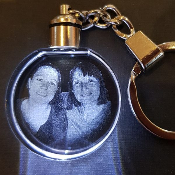 Personalised Glass Round LED Keyring | Personalised Pet Memorial | Corporate Gifts